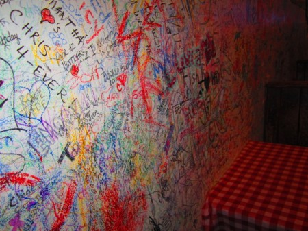 The wall graffiti welcomed by all Hueys customers